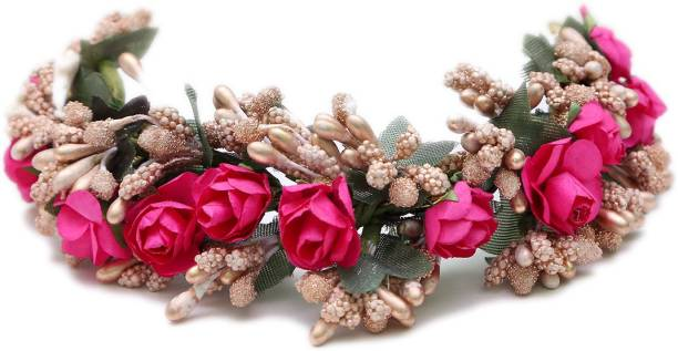 Fashion Factory Artificial Pink Rose Fabric Gajra for Women and Girls 0003 Bun