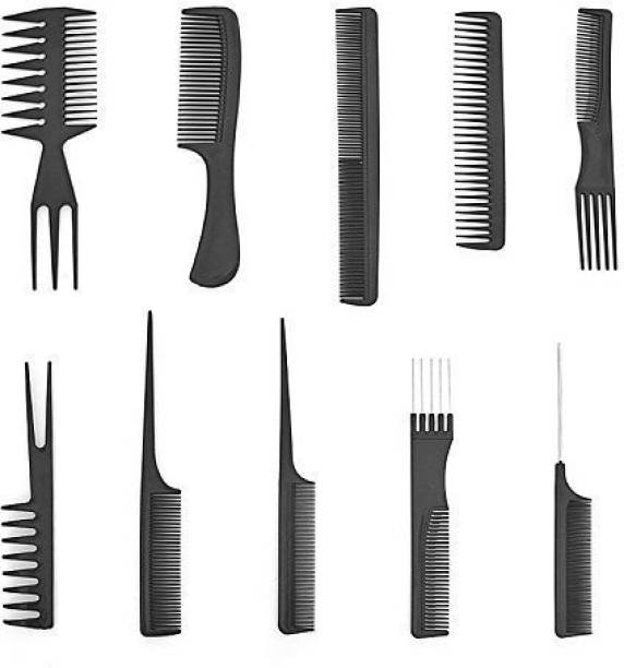 FIOLTY Set of 10 Pcs Multipurpose Salon Hair Styling (41 * 25) cm Hairdressing hairdresser Combs Professional Comb Kit