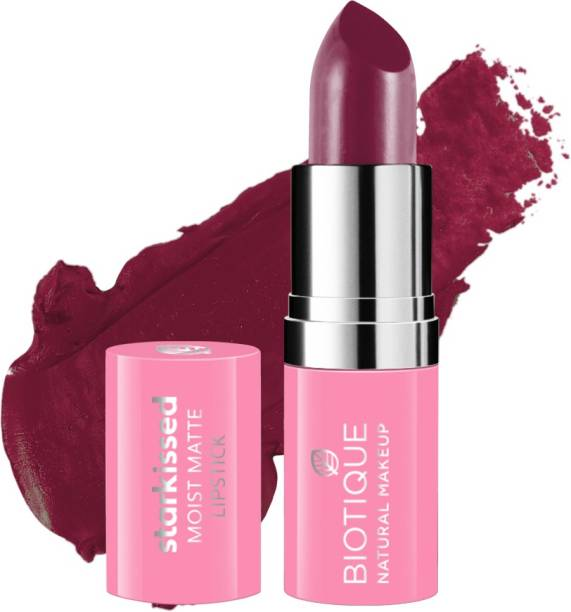 BIOTIQUE Starkissed Moist Matte Lipstick, Peony Pink
