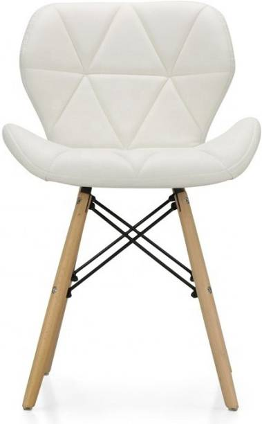 Urbancart Side Chair with Padded Seat & Solid Wood Legs Ideal for Dining, Cafeteria, Restaurant, Bar(White) Solid Wood Living Room Chair