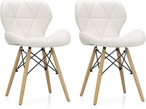 Urbancart Chair with Padded Seat & Solid Wood Legs Ideal for Dining, Cafeteria, Restaurant, Bar(White)(Set of 2) Solid Wood Living Room Chair