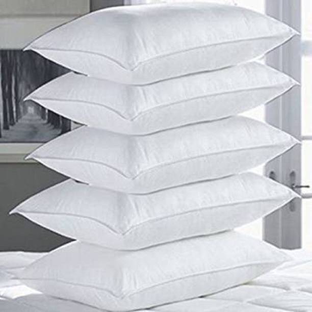 lawera Polyester Fibre, Cotton Solid Sleeping Pillow Pack of 5