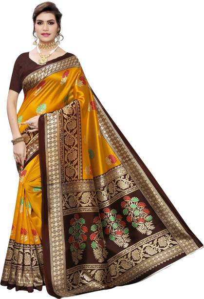 SAARA Printed Kanjivaram Cotton Silk Saree