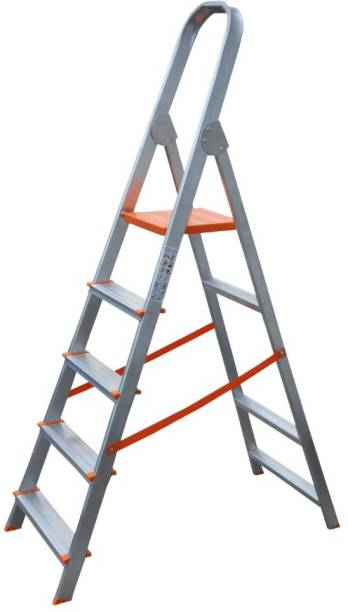AGUERRI 5 Step Foldable Aluminium Ladder with Platform for Home Use (Silver) Aluminium Ladder