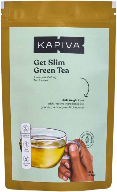 Kapiva Ayurvedic Green Tea with Garcinia Cambogia - Helps Detox, Weight Loss and Body Cleansing Cinnamon, Lemon Grass, Garcinia Green Tea Pouch