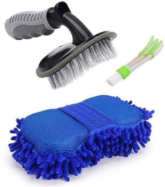 Takecare Combo of 1 Car Tyre Cleaning Brush, 1 Car AC Vent Cleaner and 1 Big Size Car Cleaning Sponge Combo