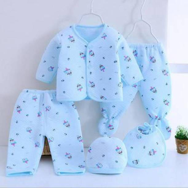 Honey Boo Presents New Born Baby Winter Wear Keep warm Baby Clothes 5Pcs (Blue)