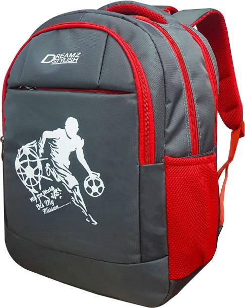 DREAMZ STYLISH Grey9011football Waterproof School Bag