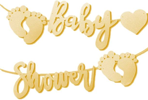 Bash N Splash Gold Cursive Baby Shower Banner Baby feet Boy or girl banner Banner