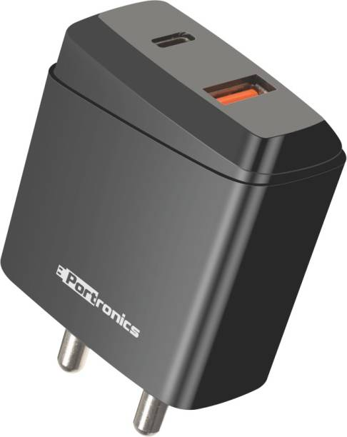 Portronics POR-1022 ADAPTO 22 Travel Adapter With QC + Type-C Output 18 W 3 A Mobile Charger