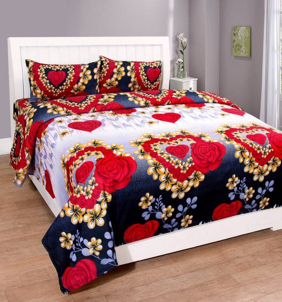 RS Enterprises 160 TC Polycotton Double Floral Bedsheet