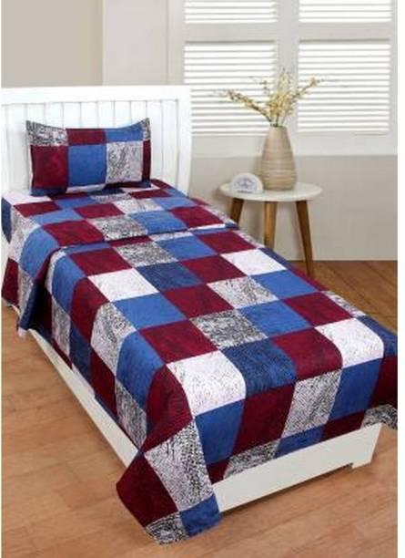 Fashion Town 160 TC Microfiber Single Checkered Bedsheet
