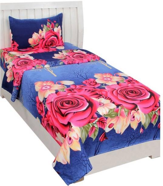 Fashion Town 160 TC Microfiber Single Floral Bedsheet