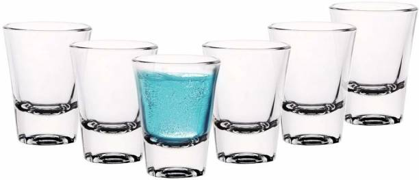 JISHAENTERPRISE (Pack of 6) (Pack of 6) Heavy Base Round Shot Glass for vodka Tequila shots (60 ml) Glass Set