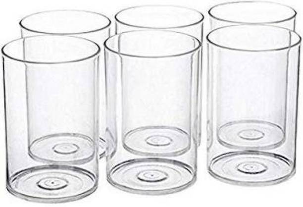 MR Products (Pack of 6) 6 Pcs. Unbreakable Stylish Transparent Water Glass Set 300 Ml,Abs Poly Carbonate Plastic Magic Glasses Glass Set