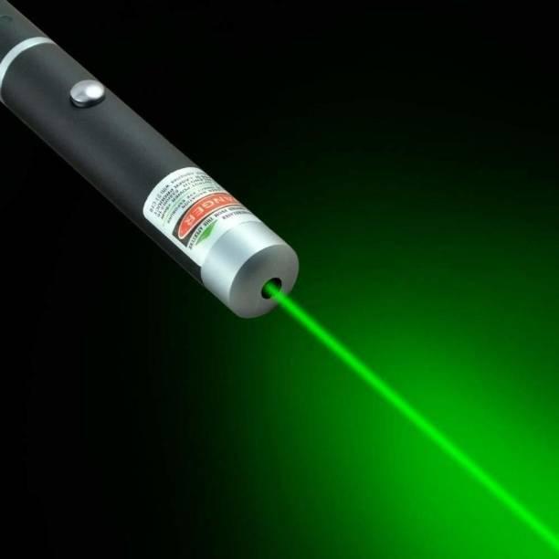 PLERIZA Green Laser Pointer Pen Beam with Stylish Disco Light (320 nm, Green)