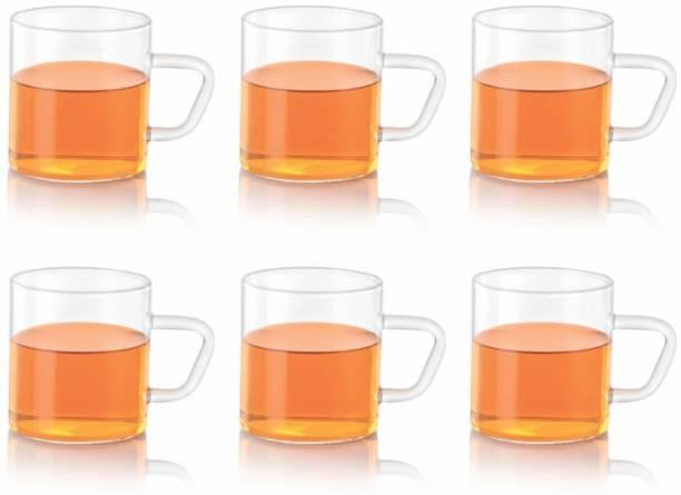 BOROSIL Vision Classic Tea N Coffee Glass Set Of 6 - Microwave Safe, Glass Coffee Mug