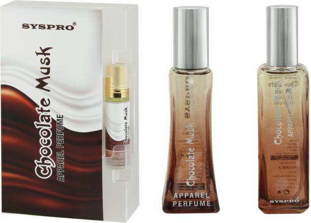 Syspro yspro Chocolate Apparel Perfume Combo Pack (50 ml + 100 ml) with Concentrated Attar (8 ml) for Men, Women & Unisex With Long Lasting Fragrance For Birthday, Valentine & Rakhi Special Gift (Pack of 3) (Family Pack) Eau de Parfum  -  158 ml