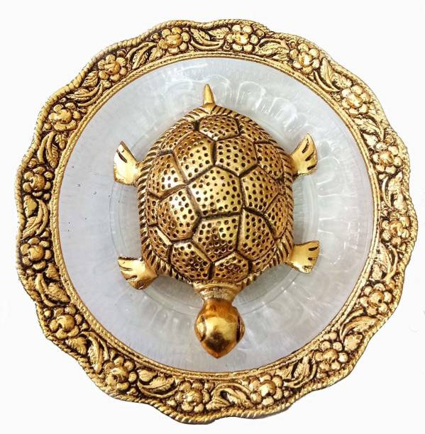 Chhariya Crafts Metal Feng Shui Tortoise On Plate Showpiece for Good Luck Decorative Showpiece  -  2 cm