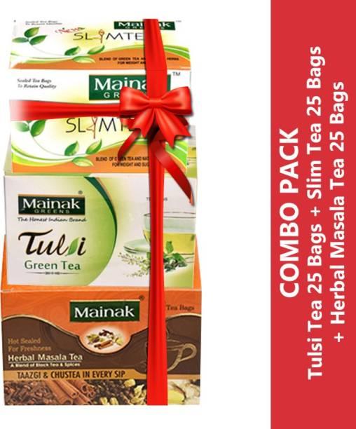 Mainak Slim Tea + Herbal Masala + Spices Green Tea Bags Box