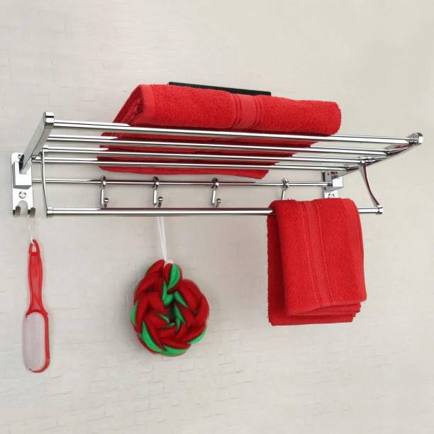 Plantex Stainless Steel Folding Towel Rack/Towel Stand/Hanger Bathroom Accessories/Chrome Finish (24 Inches-Chrome) Silver Towel Holder
