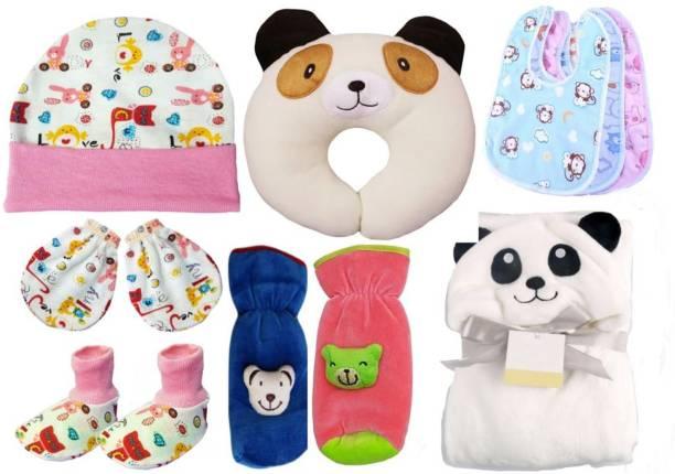 BRANDONN Combo Of new born baby blanket , pillow , bibs , bottle cover , cap , mitten and socks