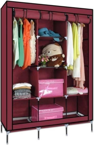 vipash Advance 8 Shelves Portable Wardrobe Carbon Steel Collapsible Wardrobe