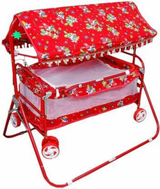 STEELOART -Baby Cradle Cot Cum Stroller Red Bassinet For Baby Boys & Baby Girls