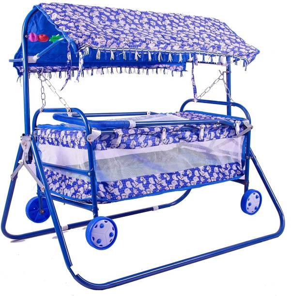 STEELOART Baby Cradle Cot Cum Stroller Blue Bassinet For Baby Boys & Baby Girls