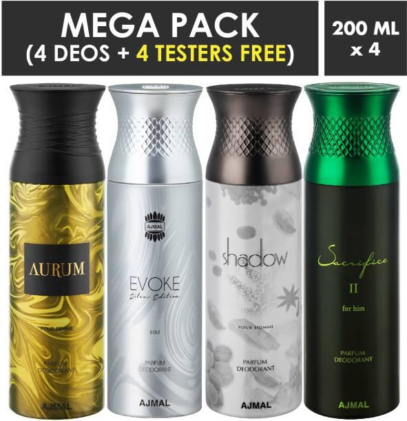 AJMAL Aurum & EvokeSilver Edition Homme & Shadow Homme & SacrificeIIHim Deodorant Spray + 4 Testers Deodorant Spray  -  For Men & Women