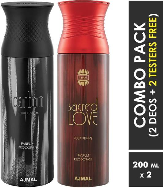 AJMAL Carbon Homme & Sacredlove Deodorant Spray + 2 Testers Deodorant Spray  -  For Men & Women
