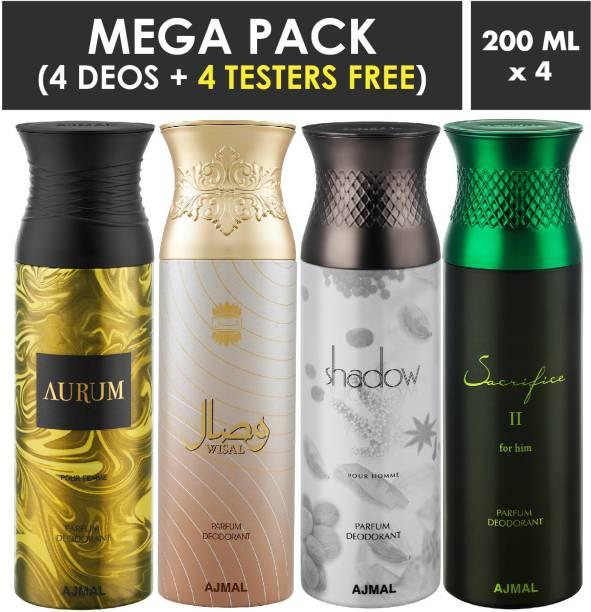 AJMAL Aurum & Wisal & Shahdow Homme & SacrificeIIHim Deodorant Spray + 4 Testers Deodorant Spray  -  For Men & Women