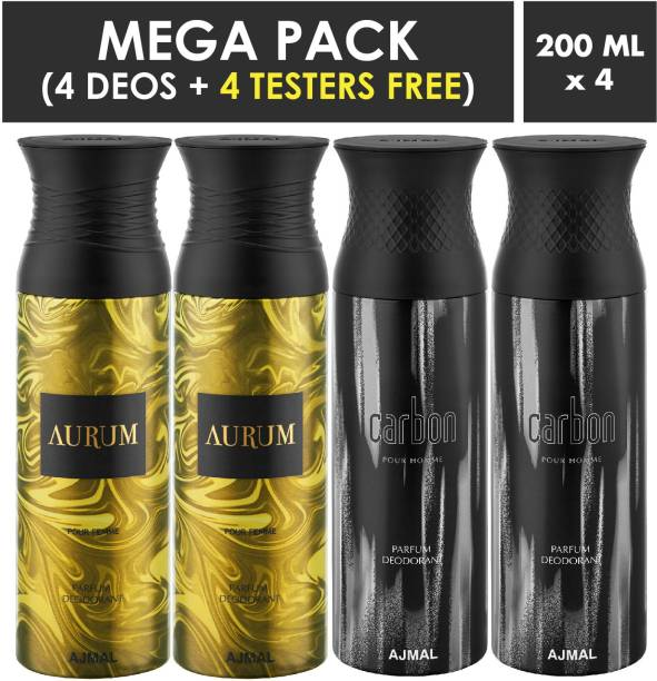 AJMAL Aurum & Carbon Deodorant Spray + 4 Testers Deodorant Spray  -  For Men & Women