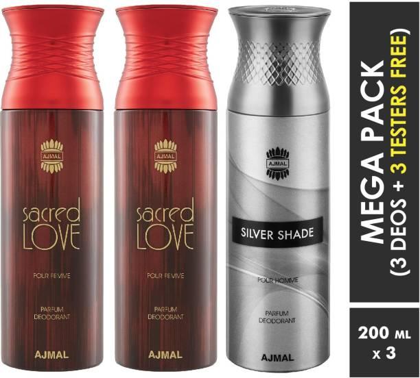AJMAL Sacred Love & Sacred Love & Silver Shade Deodorant Spray + 3 Testers Deodorant Spray  -  For Men & Women