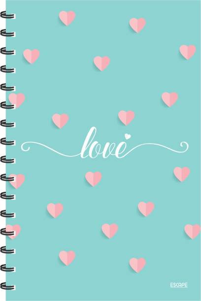ESCAPER Love with Hearts Light Green (RULED) Diary, Notebook, Notepad A5 Diary Ruling 160 Pages