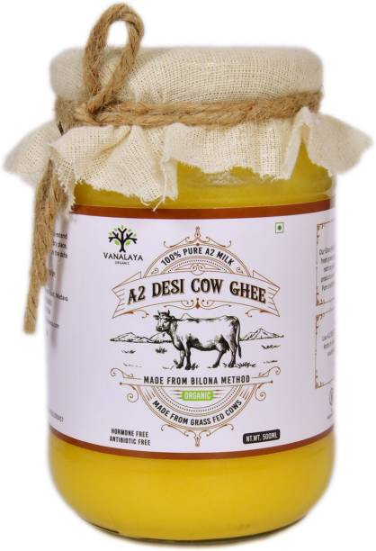 Vanalaya A2 Desi Cow Ghee 100% Pure and natural made from bilona method 500 ml Glass Bottle