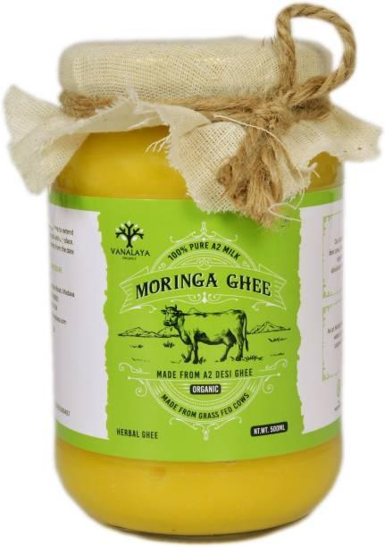 Vanalaya Moringa infused Desi Cow Ghee for energy and immunity support 500ml 500 ml Glass Bottle