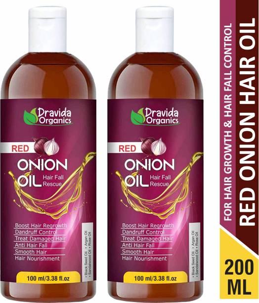 Dravida Organics Onion Hair Oil Nourishing Hair Fall Treatment With Real Onion Extract Intensive Hair Fall Dandruff Treatment (Pack of 2) Hair Oil