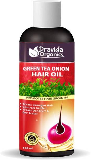 Dravida Organics Green Tea Onion Hair Oil with Onion Oil for Hair Growth, Dandruff Hair Oil