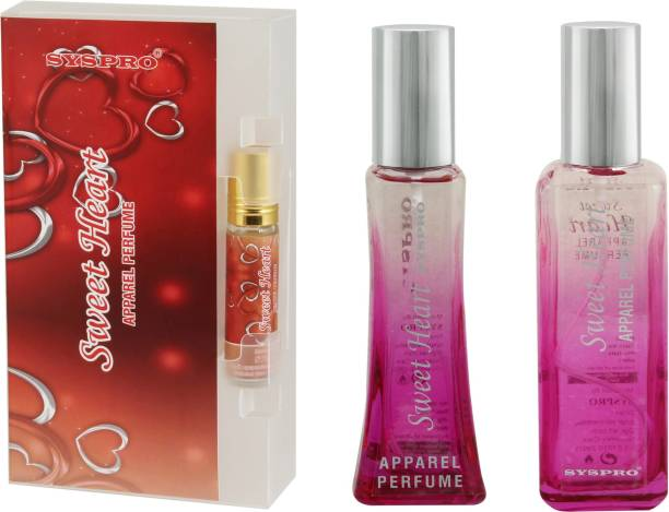 Syspro Sweet Heart Apparel Perfume Combo Pack (50 ml + 100 ml) with Concentrated Attar (8 ml) for Men, Women & Unisex With Long Lasting Fragrance For Birthday, Valentine & Rakhi Special Gift (Pack of 3) (Family Pack) Eau de Parfum  -  158 ml