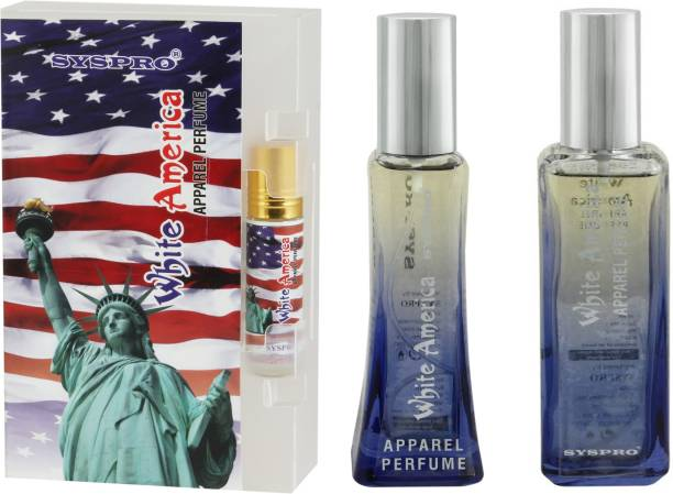 Syspro White America Apparel Perfume Combo Pack (50 ml + 100 ml) with Concentrated Attar (8 ml) for Men, Women & Unisex With Long Lasting Fragrance For Birthday, Valentine & Rakhi Special Gift (Pack of 3) (Family Pack) Eau de Parfum  -  158 ml