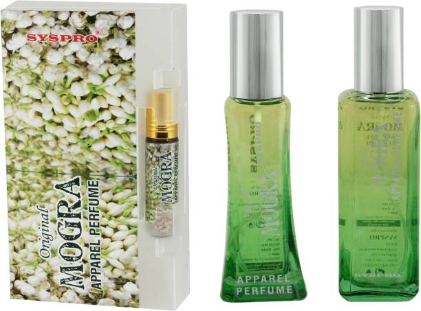 Syspro Mogra Apparel Perfume Combo Pack (50 ml + 100 ml) with Concentrated Attar (8 ml) for Men, Women & Unisex With Long Lasting Fragrance For Birthday, Valentine & Rakhi Special Gift (Pack of 3) (Family Pack) Eau de Parfum  -  158 ml