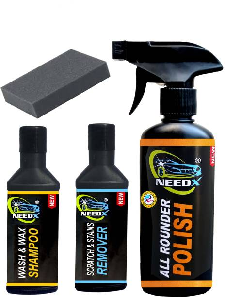 NEEDX ALL IN POLISH 250 ML + SCRATCH AND STAINS REMOVER 50 ML + WASN WAX CAR AND BIKE SHAMPOO 50 ML Combo