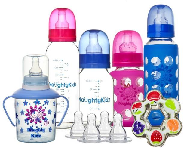 naughty kidz Premium Combo of 4 Glass Feeding Bottle, Nipple's - 4 Ultra Soft nipples With 2 Protective warmer.1 Sipper with spoon spout and nipple and 1 Water teether for baby to play BLUE//PINK