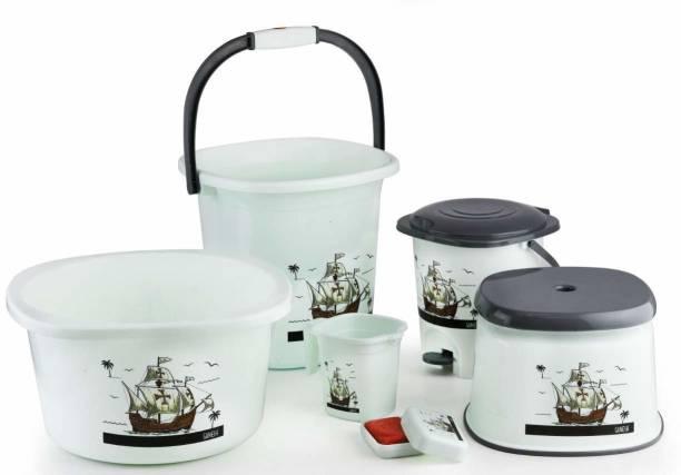 Manvyu 6 pcs Bathroom Accessories Set Plastic Bath Set Bathroom Bucket, Mug, Stool, Soap Case, Tub and Dustbin for Home, Kitchen & Bathrooom 20 L Plastic Bucket 20 L Plastic Bucket