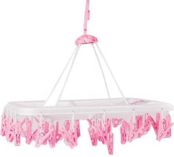 CREW4 Plastic Cloth Drying Stand Hanger with 32 Clips/pegs, Baby Clothes Hanger Stand, Plastic Cloth Clips