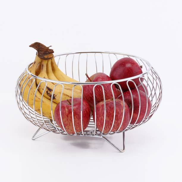 USF Stainless Steel Vegetable and Fruit Bowl Basket for Kitchen/Dining Table/Center Table/Home - Chrome Plated Stainless Steel Fruit & Vegetable Basket