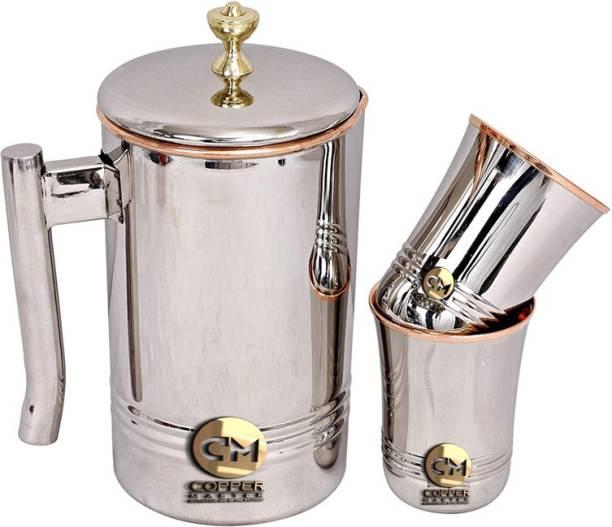 Copper Master Steel Copper Jug Pitcher with Brass Knob & 2 Glass, Serveware & Tableware, 3 Pieces Jug Glass Set