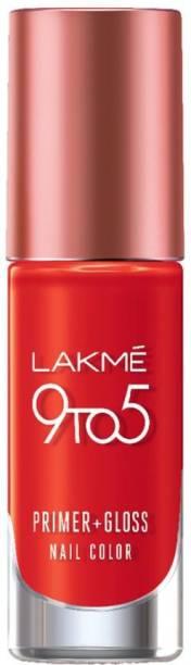 Lakmé 9To5 Primer + Gloss Nail Colour, Red Splash, 6 ml Red Splash