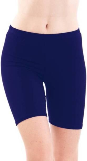 Apraa & Parma Solid Women Blue Gym Shorts, Cycling Shorts, Running Shorts, Running Shorts